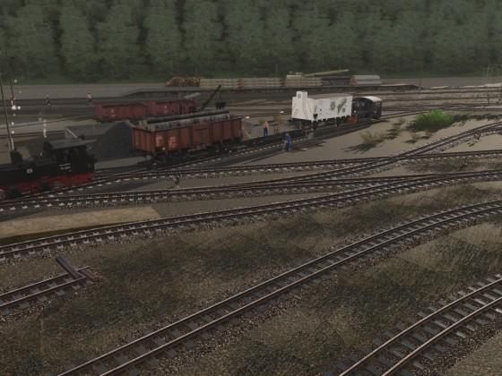 Rollwagenverladung in Schönheide Süd