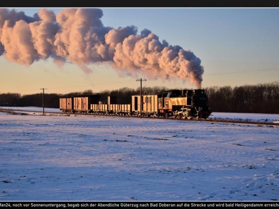 Güterzug Bäderbahn Molli an der Steilküste