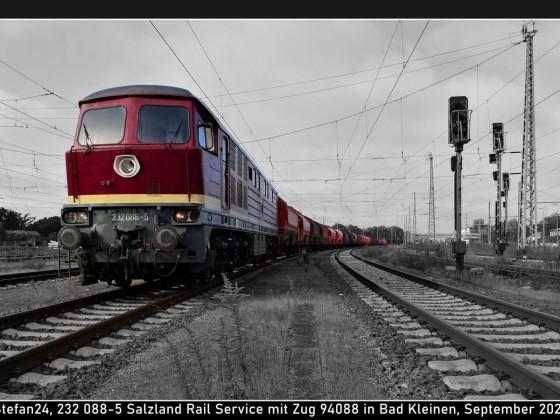 232 088-5 von Salzland Rail Service im Bf Bad Kleinen, September 2021