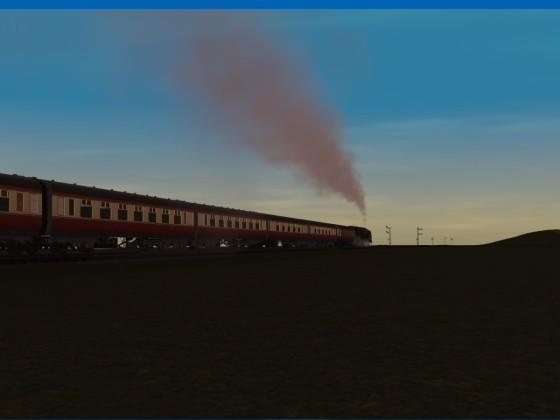 A British Railways Midland Region Dutchess Class with a rake of Stanier coaches