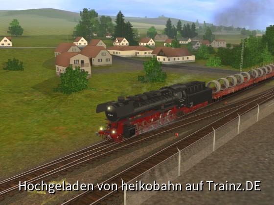 BR 44 mit Betonröhren auf dem Weg nach Frankfurt 06